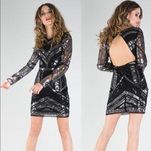 NWT California Moonrise Sequins Open Back Dress